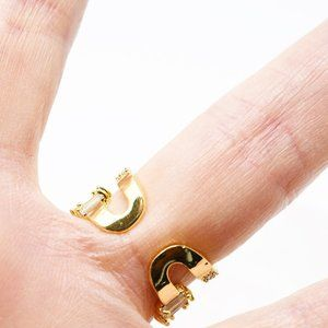 Jewelry - Baguette Style CZ Adjustable Ring Copper Metals